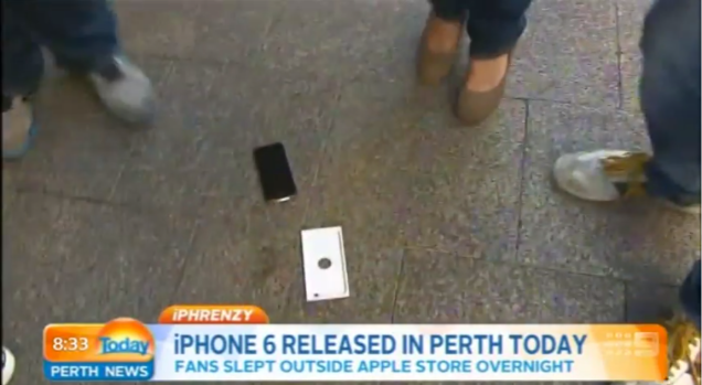 WATCH: The First Guy to buy an iPhone 6 drops his, on Live TV